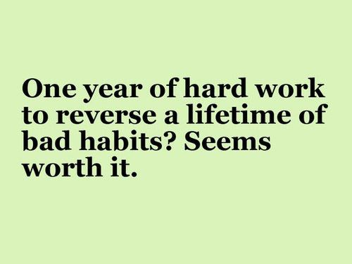Picture Quote: One year of hard work to reverse a lifetime of bad habits? Seems worth it.